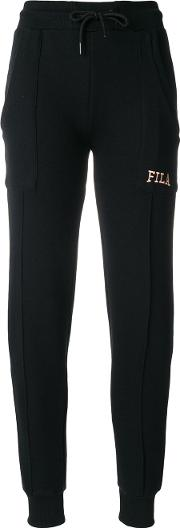 Fila Logo Embroidered Track Pants Women Cottonpolyester M, Black