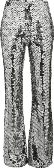 Filles A Papa Mid Rise Silver Sequin Embellished Flared Trousers Women Polyesterspandexelastane 3, Grey