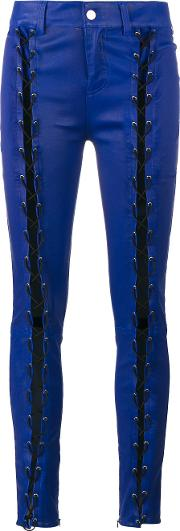 Filles A Papa Skinny Lace Up Leather Trousers Women Lamb Skin 0, Blue