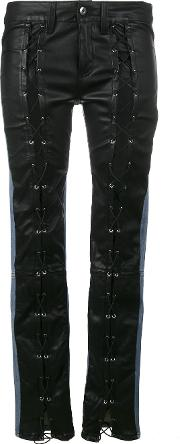 Lace Up Leather Front Mid Rise Skinny Jeans