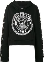 Squad Embellished Hoodie Women Cotton 1, Black