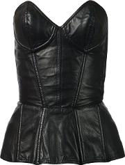 Leather Bustier Women Leather S, Black