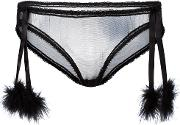 Sheer Pom Pom Briefs Women Nylon M, Black