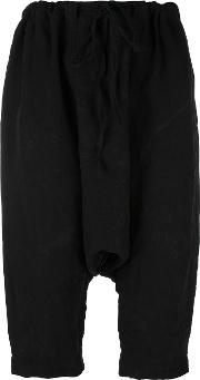 Forme D'expression Cropped Drop Crotch Trousers Women Linenflax M, Black