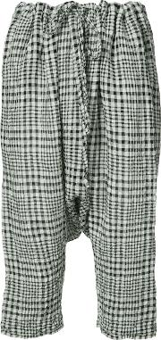 Forme D'expression Gingham Drop Crotch Cropped Trousers Women Cottonlinenflax M
