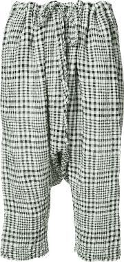 Forme D'expression Gingham Drop Crotch Cropped Trousers Women Cottonlinenflax M, White