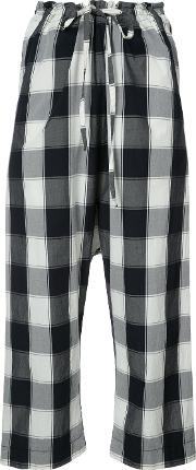 Forme D'expression Gingham Print Cropped Trousers Women Cotton S, Blue
