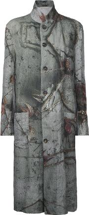 Forme D'expression Reversible Printed Coat Women Linenflax S, Grey