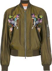 Bird Embroidered Bomber Jacket Women Cupro 42, Green