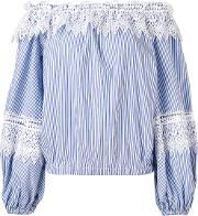 Off Shoulder Striped Blouse Women Cottonpolyester 42, Blue