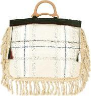 Fringed Tote Bag Women Cotton One Size, Women's, Nudeneutrals