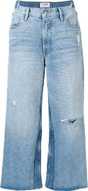 Faded Distressed Cropped Jeans