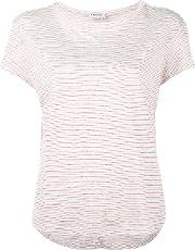 Knitted Stripe T Shirt Women Linenflax L, White