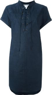 Lace Up Suede Dress Women Cottonsuedepolyesterspandexelastane S, Blue