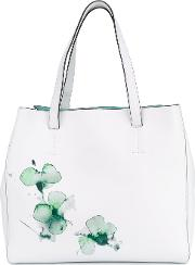 Watercolour Floral Shoulder Bag Women Leather One Size, White
