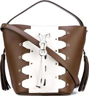 Eyelet Detail Bucket Bag Women Calf Leather One Size, Brown
