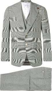 Embroidered Checked Suit Men Polyamidespandexelastanecuprowool 48, Grey