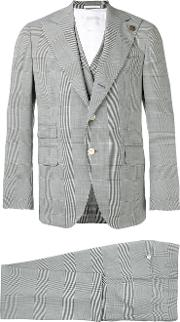 Embroidered Checked Suit Men Polyamidespandexelastanecuprowool 50, Grey