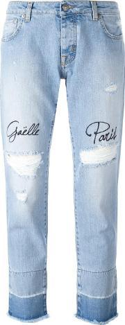 Distressed Embroidered Jeans Women Cotton 30