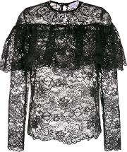 Sheer Lace Blouse With Frill Detail