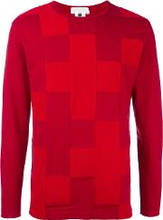 Patchwork Long Sleeved T Shirt Men Cottonpolyester S, Red