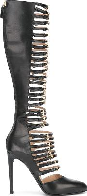 Buckled Straps Knee High Boots Women Leather 39, Black