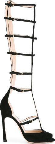 Tall Caged Sandals Women Leathersuede 39