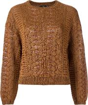 Knitted Blouse Women Polyesterspandexelastaneviscose P, Brown