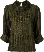 Stripped Blouse Women Polyimide G, Green