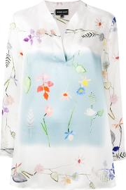 Floral Print Blouse Women Silk 42, White