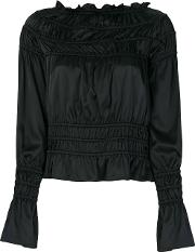 Giorgio Armani Ruched Off Shoulder Blouse Women Silkspandexelastane 42, Black