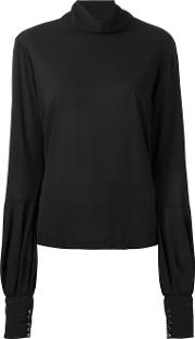 Roll Neck Blouse Women Silkspandexelastane 46, Black