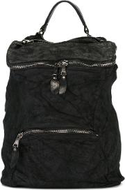 Multiple Zips Backpack Men Cottonleather One Size