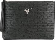 Crocodile Embossed Clutch Men Calf Leather One Size, Black