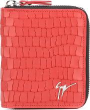 Crocodile Skin Effect Wallet Men Leather One Size, Red