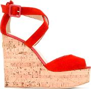 Wedge Sandals Women Leathersuede 37, Red