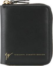 Zip Around Wallet Men Calf Leather One Size, Black