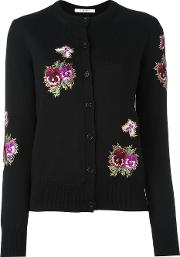 Floral Embroidered Cardigan Women Polyesterviscosewool M, Women's, Black