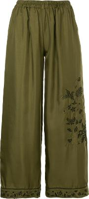 Embroidered Cropped Trousers