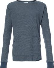 Greg Lauren Long Sleeve T Shirt Men Cotton 4, Blue