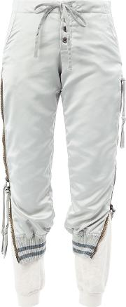 Layered Cropped Trousers Women Cottonlinenflaxpolyestersatin 1