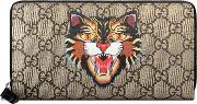 Angry Cat Print Gg Supreme Zip Around Wallet
