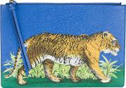 Bengal Tiger Print Pouch Women Leather One Size, Blue