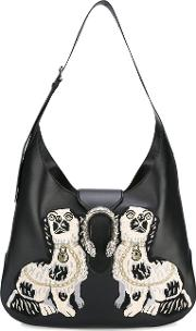 Dionysus Embroidered Maxi Hobo Bag Women Leather One Size, Women's, Black