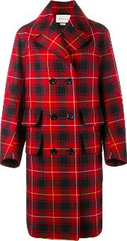 Embroidered Tartan Overcoat Women Viscosewool 40, Red