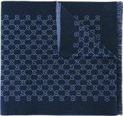 Gg Jacquard Shawl Men Wool One Size, Blue