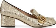 Gold Marmont Leather Pumps