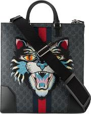 a0d8795605c4 Gucci Angry Cat Embroidered Monogram Print Tote Men Cottonleather One Size,  Black