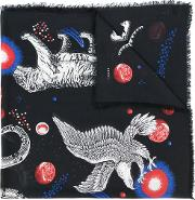 Space Animals Print Shawl Men Silkwool One Size