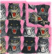 Tiger Face Print Shawl Women Silkcashmerewool One Size